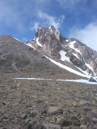 The final ascent from the summit plateau